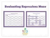 Evaluating Expressions Maze (Worksheet Activity)