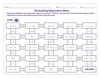 Evaluating Expressions Maze (Worksheet Activity) by 123 teach ...