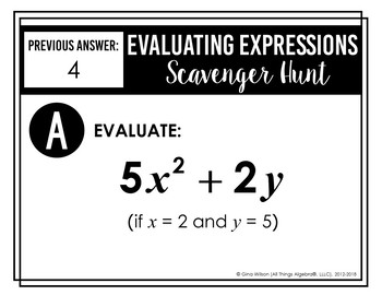 Evaluating Expressions Notes and Scavenger Hunt