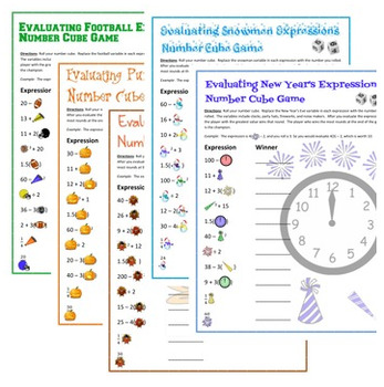 Evaluating Expressions Number Cube Games Bundle - 9 Seasonal Versions