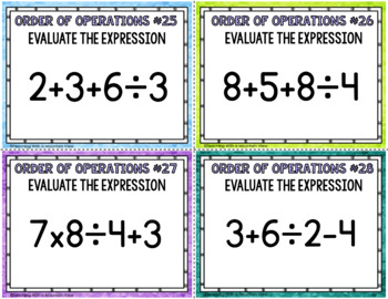 Evaluating Expressions, Order of Operations Task Cards Common Core 5.OA.1