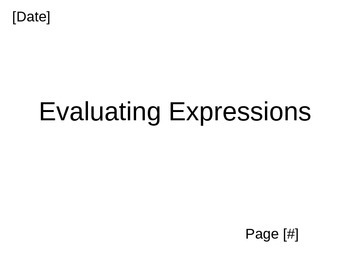 Evaluating Expressions PowerPoint for Middle School