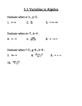 Evaluating Expressions Practice Problems