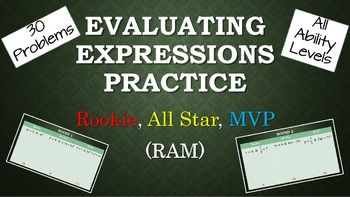 Evaluating Expressions Practice - Rookie, All-Star, MVP (RAM)