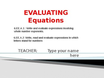 Evaluating Expressions Practice on Powerpoint Presentation