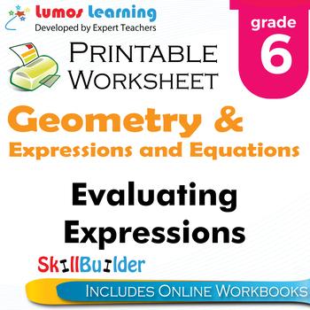 Evaluating Expressions Printable Worksheet, Grade 6