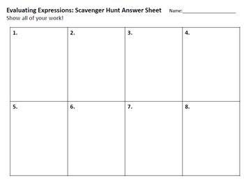 Evaluating Expressions Scavenger Hunt