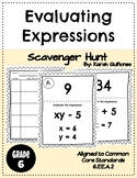 Evaluating Algebraic Expressions Activity Scavenger Hunt