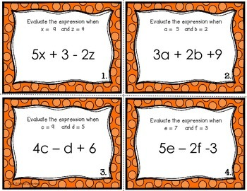 Evaluating Expressions - Set of 28 Task Cards