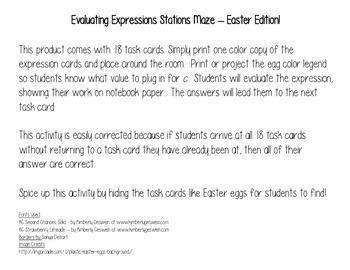 Evaluating Expressions Stations Maze and Task Cards - Easter Edition!!