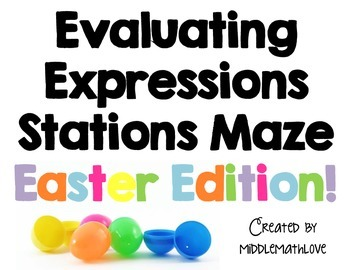 Evaluating Expressions Stations Maze and Task Cards - East