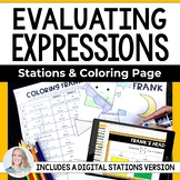 Evaluating Expressions Stations and Coloring Page : 6.EE.2