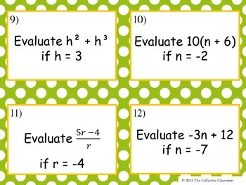 Evaluating Expressions Task Cards (Includes Editable Copy)