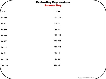 Evaluating Expressions Task Cards/ Evaluating Algebraic Expressions Task Cards