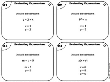 Evaluating Algebraic Expressions Task Cards