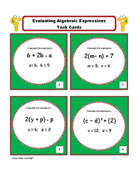 Evaluating Expressions Task Cards: Algebra 1