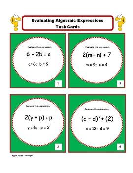 Evaluating Expressions Task Cards: Algebra 1