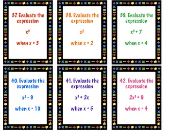 Evaluating Expressions Task Cards 6.EE.2