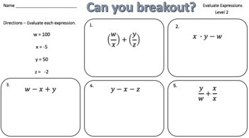 Evaluating Expressions – Two Breakout Activities!