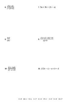 Evaluating Expressions Using Order of Operations Joke Worksheet