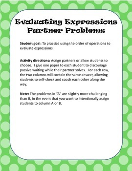 Evaluating Expressions Using the Order of Operations - Partner Problems