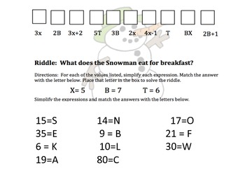 Evaluating Expressions Winter Riddles