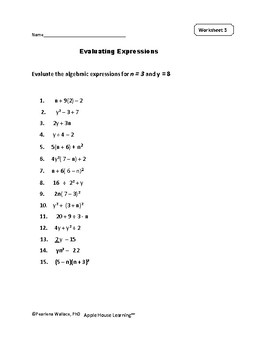 Evaluating Expressions Worksheets and Task Cards - Algebra 1 | TpT