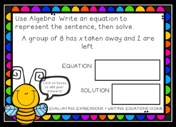 Evaluating Expressions and Writing Equations Google Interactive Task Cards-3rd