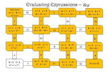 Evaluating Expressions - maze