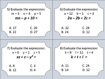 Evaluating Expressions - task cards