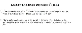 Evaluating Expressions using Volume and Area