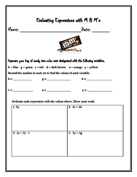 Evaluating Expressions with M&M's