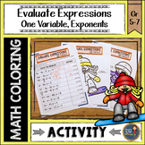Evaluating Expressions with One Variable and Exponents Coloring with Math Winter
