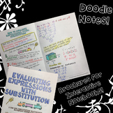 Evaluating Expressions with Substitution - Doodle Note Brochure for INBs