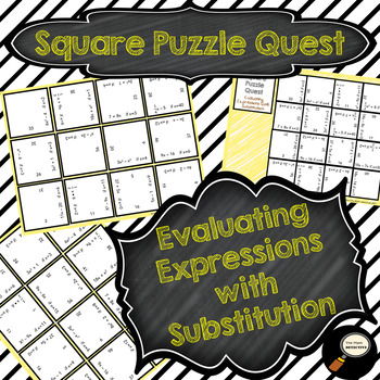 Evaluating Expressions with Substitution - Square Puzzle Quest