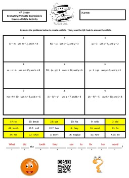 Evaluating Expressions with Variables Create a Riddle Activity