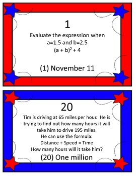 Evaluating Expressions (with exponents and decimals) Veterans Day Scavenger Hunt