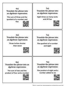 Evaluating Expressions/Translating Phrases:Task Cards