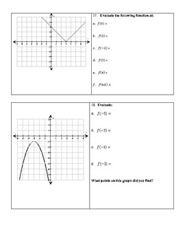 Evaluating Functions (Algebraically and Graphically) Worksheet