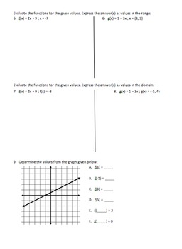Evaluating Functions - Assignment