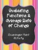 Evaluating Functions & Average Rate of Change Scavenger Hunt