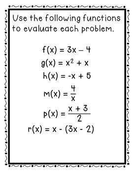 Evaluating Functions Card Match Up Activity