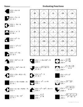 Evaluating Functions Color Worksheet