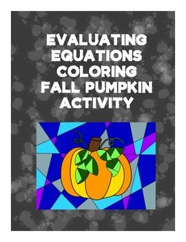Evaluating Functions Coloring Activity - Pumpkin