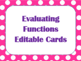 Evaluating Functions Editable Cards