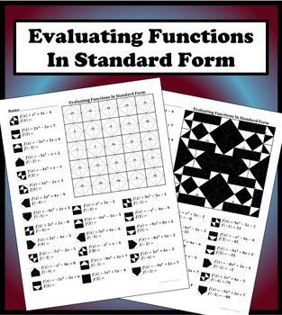 Evaluating Quadratic Functions In Standard Form Color Worksheet