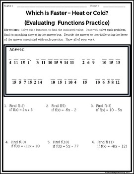 Evaluating Functions Practice Riddle Worksheet
