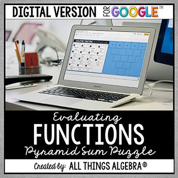 Evaluating Functions Pyramid Sum Puzzle: DIGITAL VERSION (for Google Slides™)