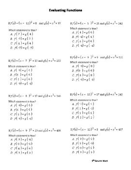 Evaluating Functions (Quiz)