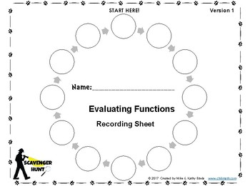 Evaluating Functions {Scavenger Hunt}